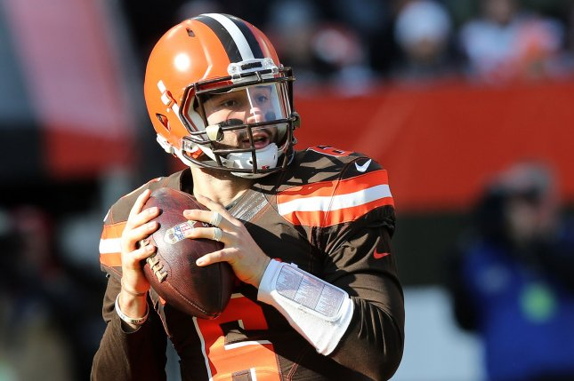 Cleveland Browns quarterback Baker Mayfield looks to throw against the Atlanta Falcons on Sunday at FirstEnergy Stadium in Cleveland, Ohio. Photo by Aaron Josefczyk/UPI