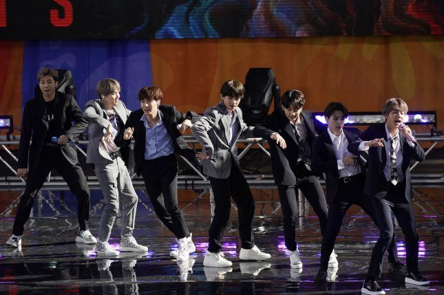 BTS performs on Good Morning America at Rumsey Playfield/SummerStage in Central Park in New York City on May 15. File Photo by John Angelillo/UPI