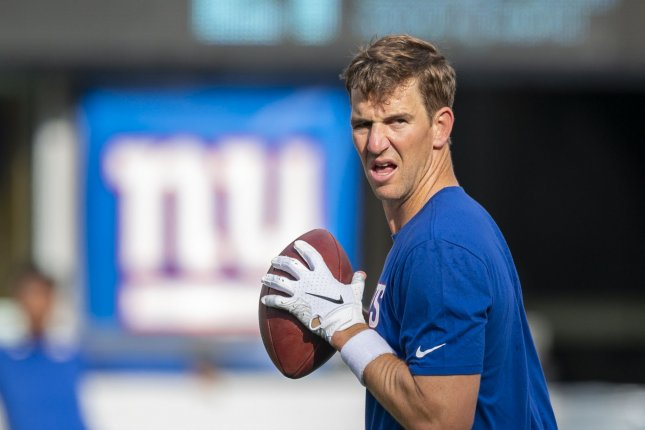 New York Giants quarterback Eli Manning was benched after the first two games of the season. File Photo by Corey Sipkin/UPI