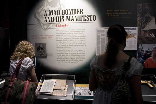 The Unabomber's manifesto is on display at the Newseum's exhibit, G-Men and Journalists: Top News Stories of the FBI's First Century in Washington, D.C., on June 17, 2008. On September 19, 1995, The Washington Post published a manifesto by Theodore Kaczynski, the so-called Unabomber, who carried out 16 bombings across the United States from 1978-95, killing three people. File Photo by Jack Hohman/UPI