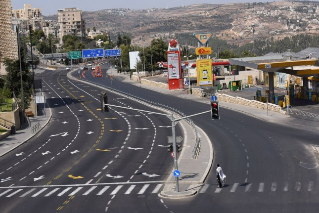 The city of Jerusalem, Israel, is seen virtually empty on Saturday due to coronavirus restrictions. Honduras plans to move its embassy into the city by the end of the year. Photo by Debbie Hill/UPI