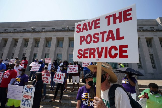 A federal judge in the Southern District of New York ruled Monday that mail-in ballots must be considered first-class mail or priority express and that overtime to deliver election mail must be approved by the U.S. Postal Service. File Photo by Bill Greenblatt/UPI