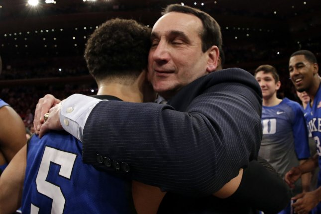 Coach Mike Krzyzewski (R) and the Duke Blue Devils will not play their men's basketball game as scheduled Wednesday after a positive COVID-19 test emerged from within opponent Gardener-Webb's program. File Photo by John Angelillo/UPI
