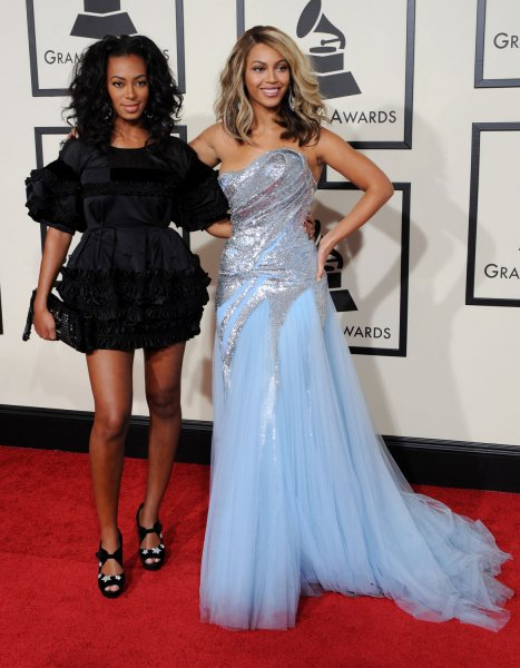 Beyonce Knowles (R) and her sister Solange Knowles attend the 50th annual Grammy Awards at Staples Center in Los Angeles on February 10, 2008. (UPI Photo/Jim Ruymen)