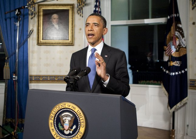 U.S. President Barack Obama is shown after reading a statement in regards to a budget agreement to keep the U.S. government funded at the White House in Washington, D.C. on Friday, April 8, 2011. The deal cut more than $38 billion in federal speeding and was announced less than an hour before the budget deadline. UPI/Joshua Roberts/Pool