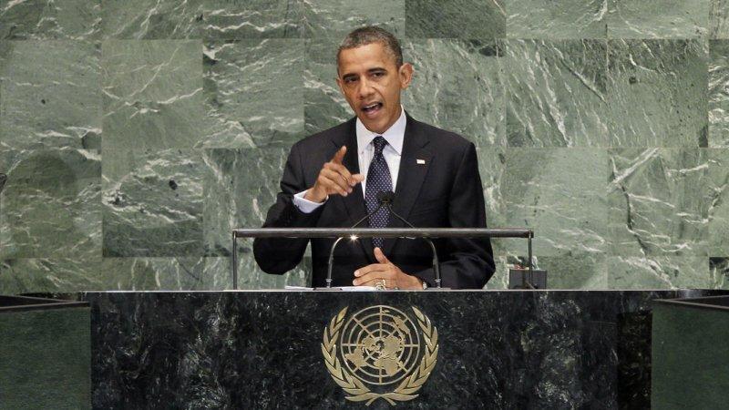 United States President Barack Obama addresses the United Nations at the 67th United Nations General Assembly in the UN building in New York City on September 25, 2012. UPI/John Angelillo