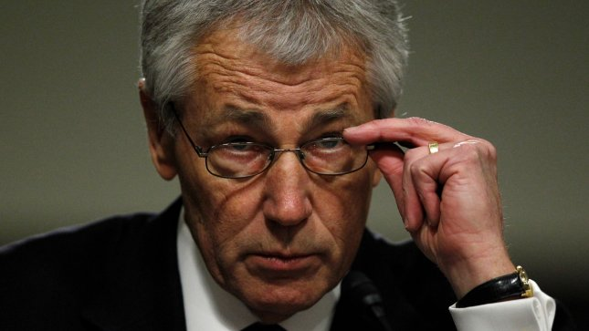 Former Senator Chuck Hagel gives his opening statement before testifying before the Senate Armed Services Committee for his confirmation hearing for Secretary of Defense, in Washington, DC on January 31, 2013. UPI/Molly Riley