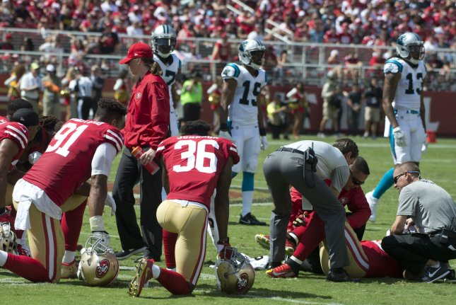 Reuben Foster (R) also missed five games during his 2017 season after injuring his ankle during a game for the San Francisco 49ers. File Photo by Terry Schmitt/UPI