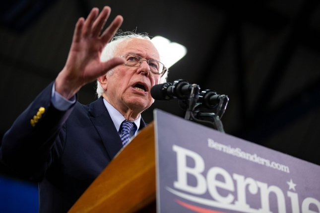 Democratic presidential candidate Sen. Bernie Sanders speaks to supporters on February 11 at a rally in Manchester, New Hampshire. Photo by Matthew Healey/UPI