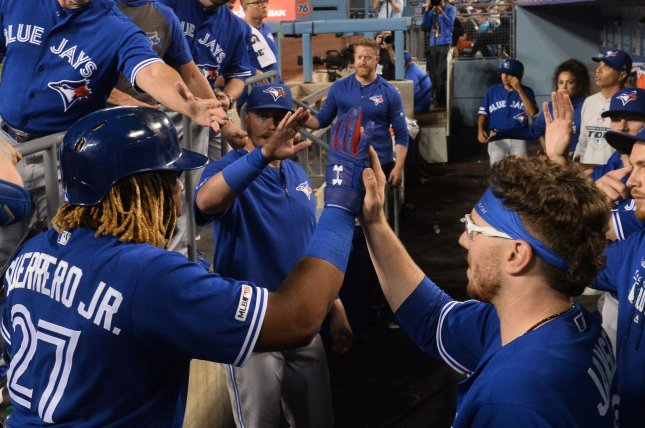 The Toronto Blue Jays will play at their spring training site in Dunedin, Fla., to start the 2021 MLB season because of travel restrictions between Canada and the United States. File Photo by Jim Ruymen/UPI