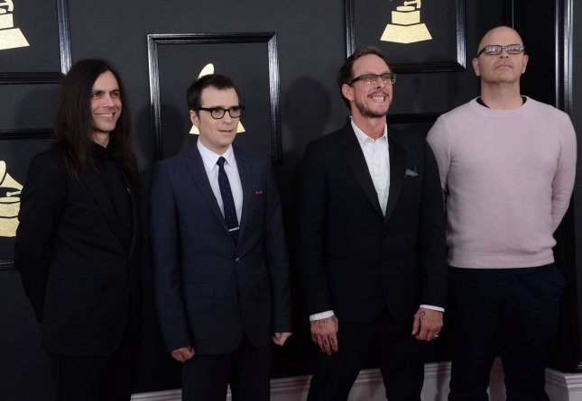 Left to right, Brian Bell, Rivers Cuomo, Scott Shriner and Patrick Wilson of Weezer. The band have released a new music video featuring Pete Wentz. File Photo by Jim Ruymen/UPI