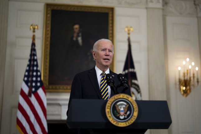 President Joe Biden on Thursday directed the military to conduct an airstrike targeting Iranian-backed groups in Syria. Pool Photo by Doug Mills/UPI