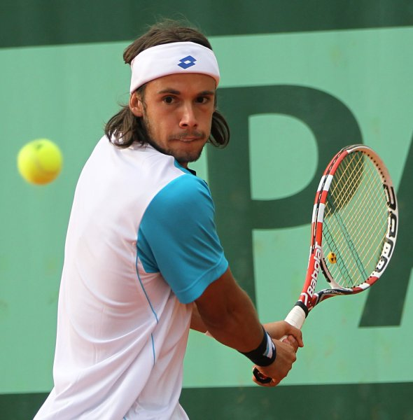Antonio Veic, shown in the 2011 French Open, posted one of two upsets Monday in first-round action of the ATP tournament in Austria. UPI/David Silpa