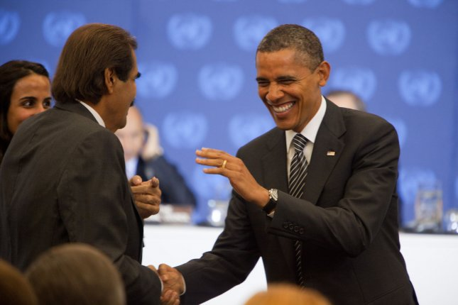 U. S. President Barack Obama greets Qatar's Amir Sheikh Hamad bin Khalifa Al-thani at meeting of the Libyan Contact Group at the United Nations in New York on September 20, 2011. The interim government takes a seat at the UN General Assembly this week. UPI/Allan Tannenbaum/Pool