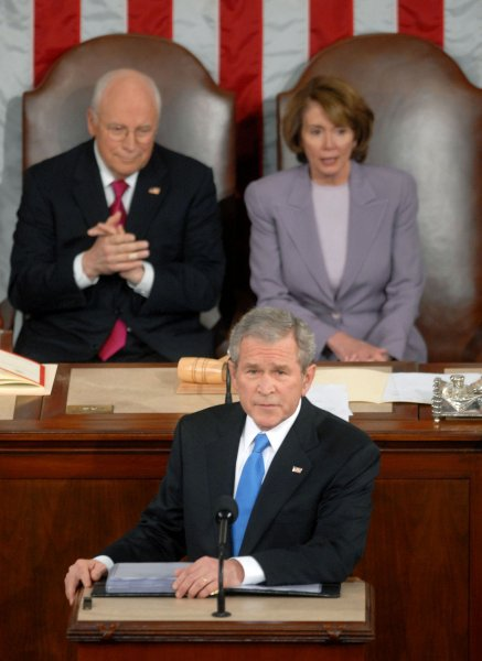 U.S. President George W. Bush addresses the nation during his State of the Union address at the U.S. Capitol building in Washington on January 28, 2008. Seated behind the President are Vice President Dick Cheney (L) and Speaker of the House Nancy Pelosi (D-CA). (UPI Photo/Kevin Dietsch/Files)