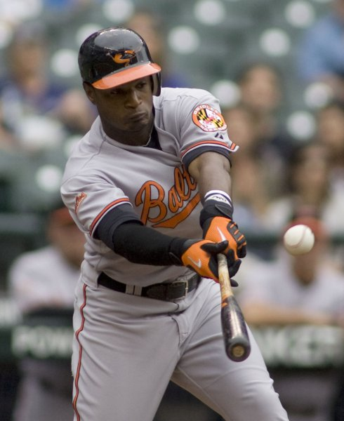 Baltimore Orioles' Adam Jones hits a foul ball against the Seattle Mariners in the first inning at SAFECO Field in Seattle on July 8, 2009. (UPI Photo/Jim Bryant)