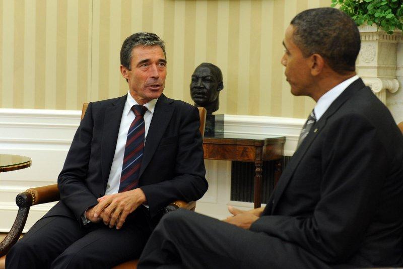 Anders Fogh Rasmussen (L), shown Sept. 7, 2010, in Washington with U.S. President Barack Obama. UPI/Roger L. Wollenberg