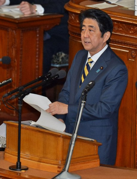 Japan's Prime Minister Shinzo Abe makes a diplomatic report during the Ordinary Diet session of the House of Representatives in Tokyo, Japan on January 4. On Wednesday, he met with South Korean lawmakers. Photo by Keizo Mori/UPI