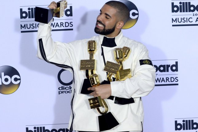 Drake appears backstage during the annual Billboard Music Awards on May 21. Drake is no longer on the Hot 100 chart for the first time since 2009. File Photo by Jim Ruymen/UPI