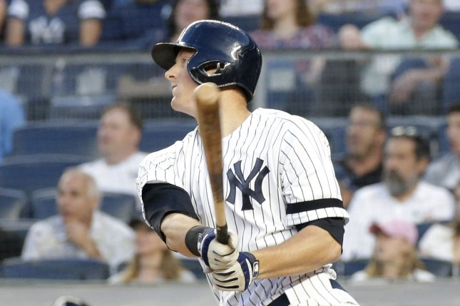 New York Yankees infielder DJ LeMahieu led the team with eight home runs during their Major League record 31 consecutive games with a home run. File Photo by John Angelillo/UPI