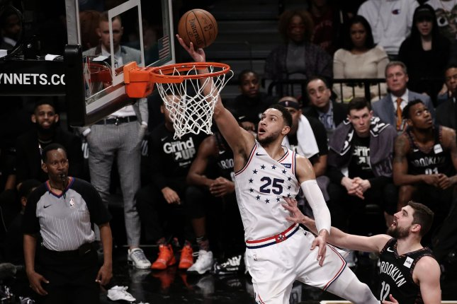Philadelphia 76ers guard Ben Simmons (25) was an All-Star for the first time in 2018-2019, despite not making a 3-pointer. File Photo by Peter Foley/UPI