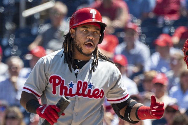 Former Philadelphia Phillies third baseman Maikel Franco became a free agent when he was non-tendered by the Phillies earlier this off-season. File Photo by Pat Benic/UPI