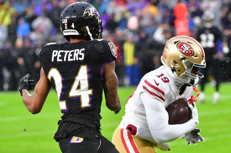 Baltimore Ravens cornerback Marcus Peters (L) was selected to his third Pro Bowl this season. File Photo by David Tulis/UPI