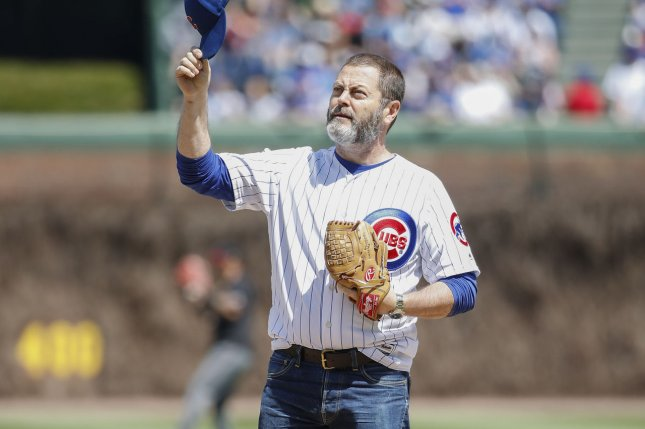 Nick Offerman throws out the ceremonial first pitch before a baseball game between in the Chicago Cubs and Arizona Diamondbacks at Wrigley Field on April 21, 2019, in Chicago. File Photo by Kamil Krzaczynski/UPI