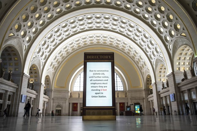 A sign, pictured Tuesday, displays health guidelines for train passengers to stem the spread of the coronavirus disease, at Union Station in Washington, D.C.Photo by Sarah Silbiger/UPI