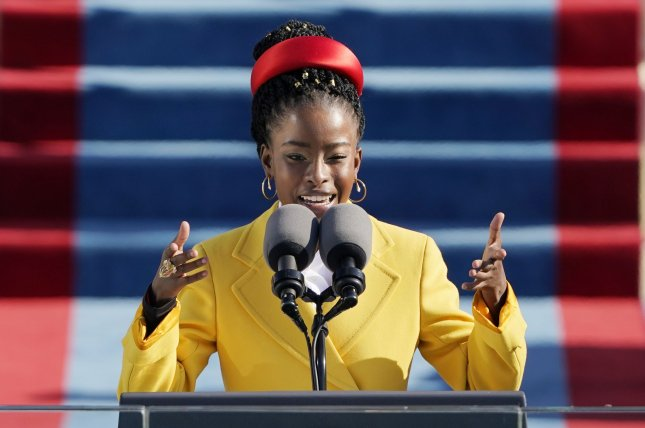 American poet Amanda Gorman reads a poem after Joe Biden is sworn in as the 46th president of the United States. Pool Photo by Patrick Semansky/UPI