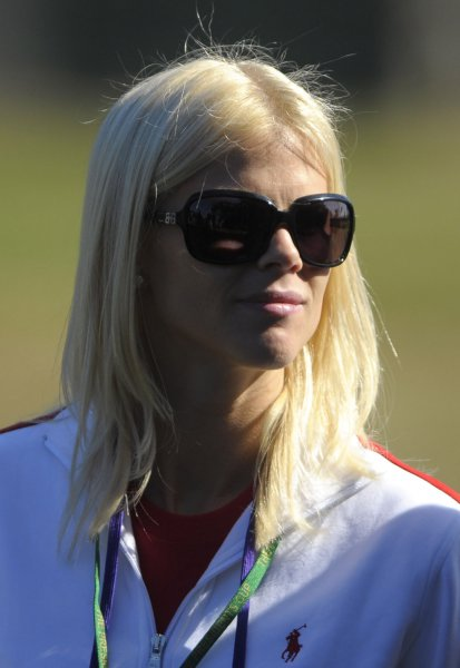 Elin Nordegren, the wife of United States team member Tiger Woods, watches her him play on during the second round of The Presidents Cup at Harding Park Golf Course in San Francisco, California on October 9, 2009. UPI/Kevin Dietsch