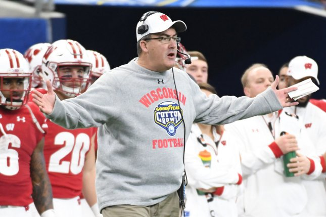 Wisconsin Badgers head coach Paul Chryst wants a explaination from officials as his team playes the Western Michigan Broncos in the 2017 Cotton Bowl in Arlington, Texas on January 2, 2017. File photo by Ian Halprin/UPI