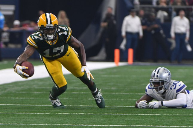 Green Bay Packers Davante Adams gets away from Dallas Cowboys Anthony Brown for a short gain at AT&T Stadium in Arlington, Texas on October 8, 2017. File photo by Ian Halperin/UPI