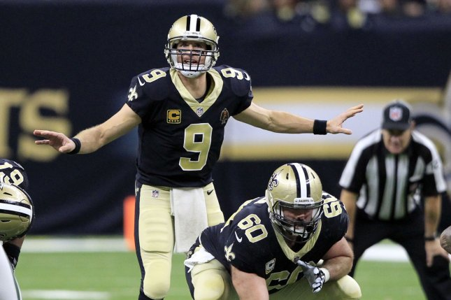 New Orleans Saints quarterback Drew Brees (9) signals a play at the line against the New York Jets at the Mercedes-Benz Superdome in New Orleans December 17, 2017. File photo by AJ Sisco/UPI