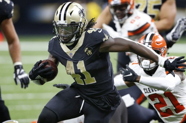 New Orleans Saints running back Alvin Kamara (41) runs for five yards late in the fourth quarter against the Cleveland Browns on September 16 at the Mercedes-Benz Superdome in New Orleans. Photo by AJ Sisco/UPI