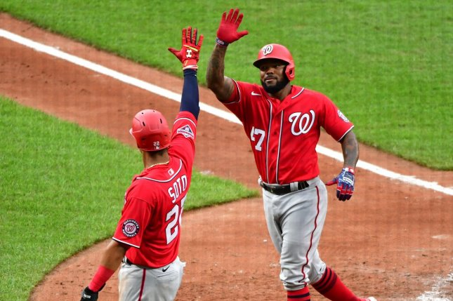 Washington Nationals left fielder Juan Soto (L) will not play Thursday after he tested positive for COVID-19. Photo by David Tulis/UPI