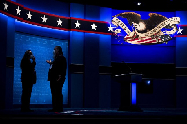 Preparations take place Monday for the first presidential debate on the campus of Case Western Reserve University in Cleveland. Photo by Kevin Dietsch/UPI