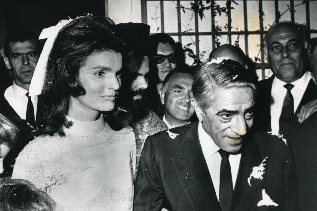 Jacqueline Kennedy and Aristotle Onassis are married in Skorpios, Greece, on October 20, 1968. UPI File Photo