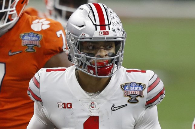Ohio State quarterback Justin Fields, who declared for the 2021 NFL Draft on Monday, is a projected first-round pick. File Photo by Aaron Josefczyk/UPI