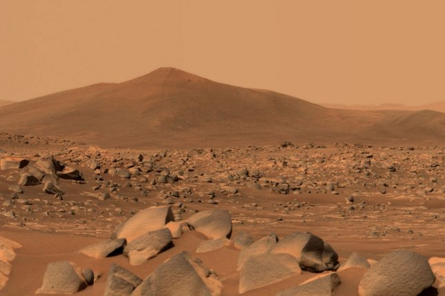NASA's Perseverance Mars rover used its dual-camera Mastcam-Z imager to capture this image of Santa Cruz, a hill about 1.5 miles away from the rover in April. Photo by NASA/UPI