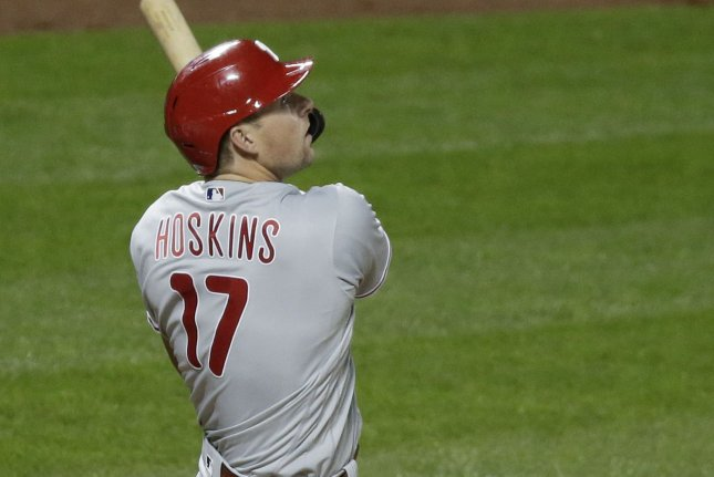 Philadelphia Phillies first baseman Rhys Hoskins, shown Sept. 4, 2020, currently leads the team with 27 home runs and 71 RBIs this season. File Photo by John Angelillo/UPI