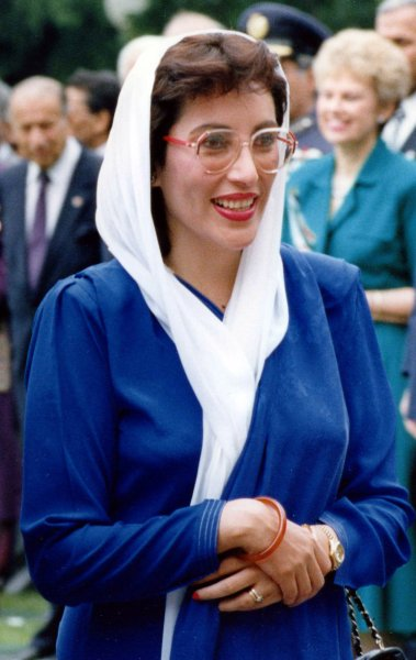 Former Pakistani Prime Minister and opposition leader Benazir Bhutto was assassinated in a suicide attack after speaking at a campaign rally in Rawalpindi, Pakistan on December 27, 2007. Bhutto's attacker shot her in the neck and chest and then blew himself up next to her car. She was 54. Bhutto is pictured visiting the White House in a June 6, 1989 file photo in Washington. (UPI Photo/Cliff Owen/FILES)