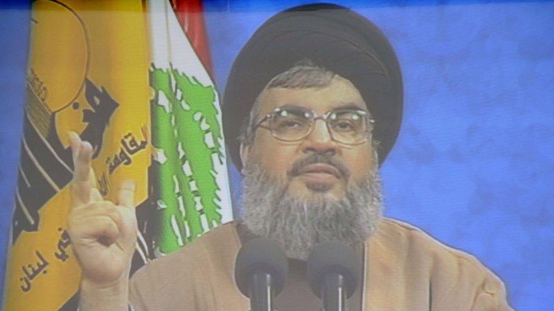 Hezbollah leader Hassan Nasrallah on video in 2008. (UPI Photo)