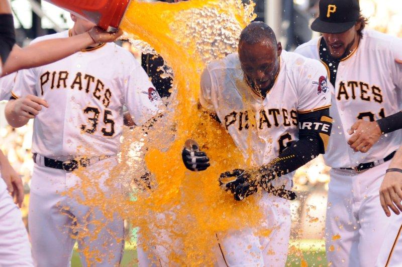 Pittsburgh Pirates left fielder Starling Marte (6). Photo by Archie Carpenter/UPI