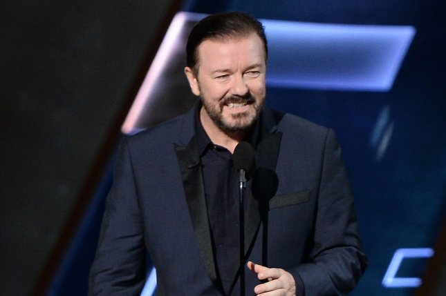 Special Correspondents actor, writer and director Ricky Gervais appears at the 67th Primetime Emmy Awards in Los Angeles on September 20, 2015. File Photo by Ken Matsui/UPI