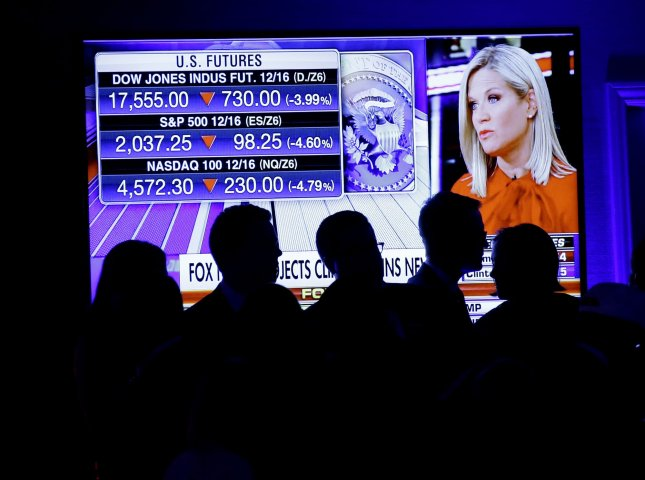 Supporters of Republican nominee for President Donald Trump watch a projection of the stock market futures as returns come in on Election Day of the 2016 US Presidential Election at the New York Hilton Midtown on November 8, 2016. Photo by John Angelillo/UPI