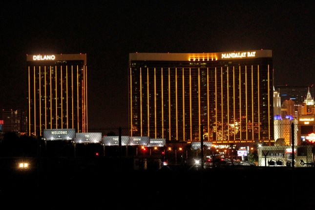 A view of the Mandalay Bay Resort and Casino after a shooting at the Route 91 Country Music festival in Las Vegas, Nevada on October 2, 2017. More than 50 people were killed and over 400 others were injured after a gunman opened fire Sunday night at a country music festival opposite the Mandalay Bay hotel and resort on the Las Vegas Strip, authorities said. This shooting is now the deadliest mass shooting in U.S. history. Photo by James Atoa/UPI