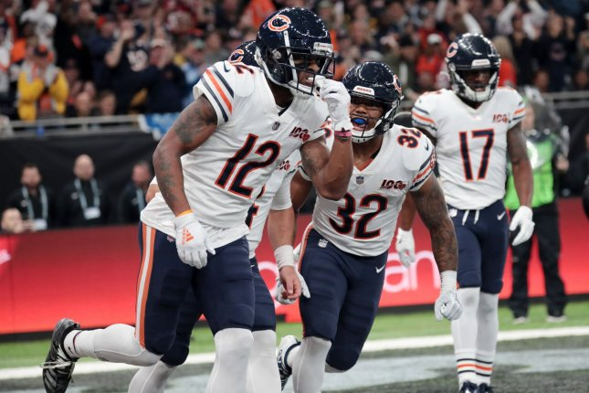 Chicago Bears wide receiver Allen Robinson (12) is averaging 6.5 catches per game this season. He also is on pace for more than 1,000 receiving yards. Photo by Hugo Philpott/UPI