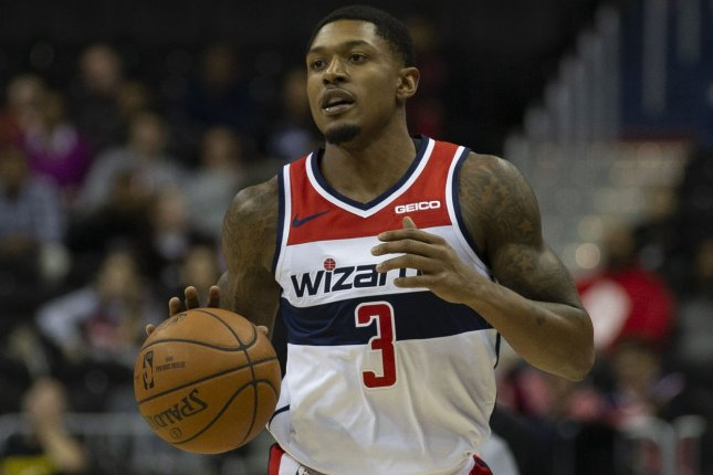 Washington Wizards guard Bradley Beal was put in Team USA's health and safety protocols for COVID-19 ahead of an Olympic exhibition game against Australia on Friday in Las Vegas. File Photo by Alex Edelman/UPI