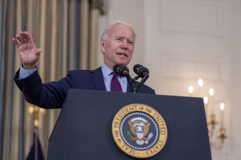 President Joe Biden speaks on the debt ceiling in the state dining room at White House on October 4. Photo by Tasos Katopodis/UPI
